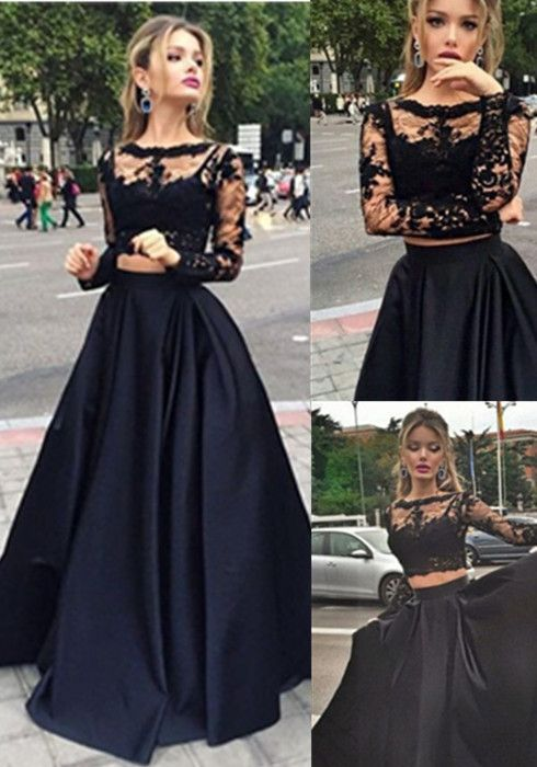 a402595a99b8d Beauty A-Line Long Sleeve Floor-Length Satin Black Prom Dresses long ...