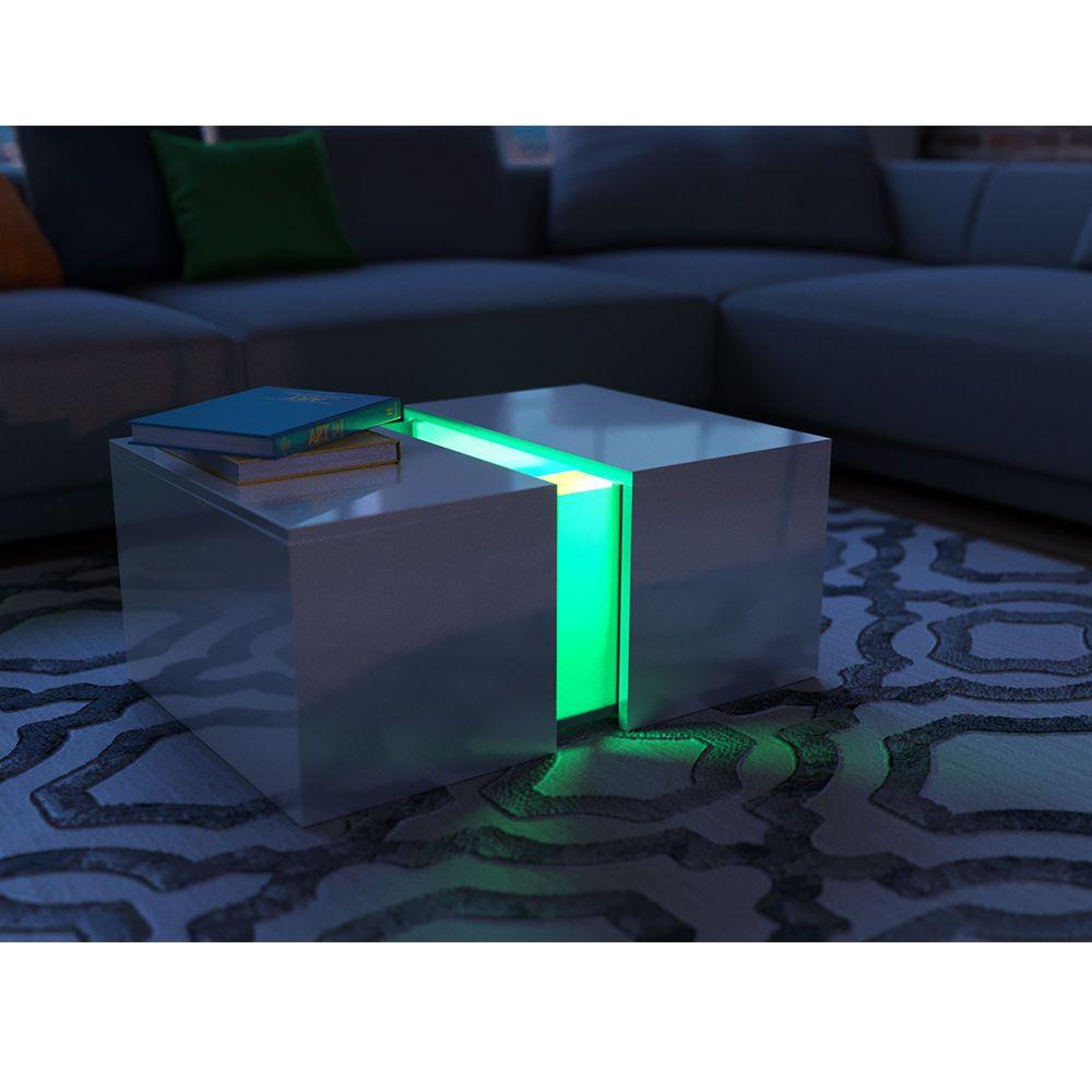 Details zu VICCO LED Couchtisch Weiß Hochglanz Loungetisch ...