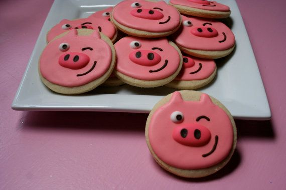 Pig winking 1 dozen cookies by thetalentedcookie on Etsy