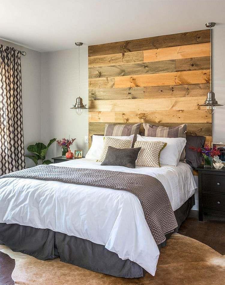 Mur en bois recyclé pour aménager une chambre à l\'esprit récup ...