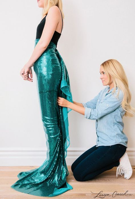 Pin for Later You Can DIY Your Way to Lauren Conradu0027s Mermaid Costume For the Mermaid Tail & For the Mermaid Tail | Pinterest | Mermaid tails Mermaid and Costumes