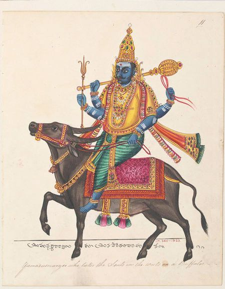 Yamaraja With Images Old Paintings Indian Paintings Indian