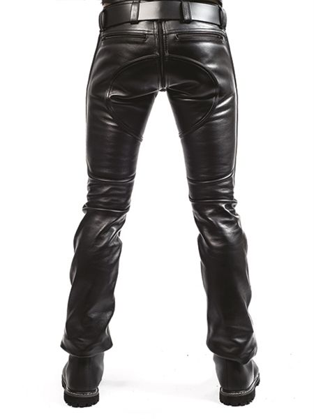 Clothing Leather Jeans Chaps Mister B Leather Indicator Jeans Black Stitching