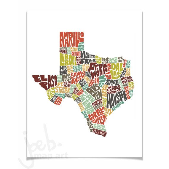Texas Cities Towns Typography Map Art Illustration Color Print - Detailed map of texas cities and towns