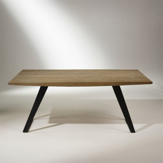 Table Plateau Chene Massif Pieds Metal 8 A 10 Couverts Hector Plateau Chene Massif Plateau Chene Table Salle A Manger