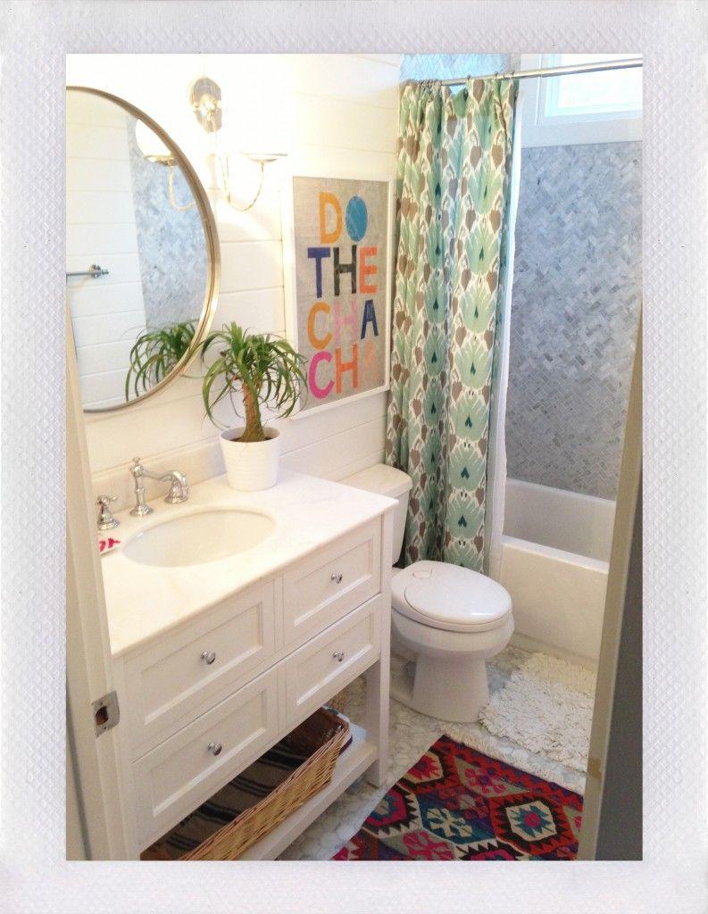Amber Interior Design Boho Style Ikat Shower Curtain Kilim Rug Round Mirror Chic Bathroom California