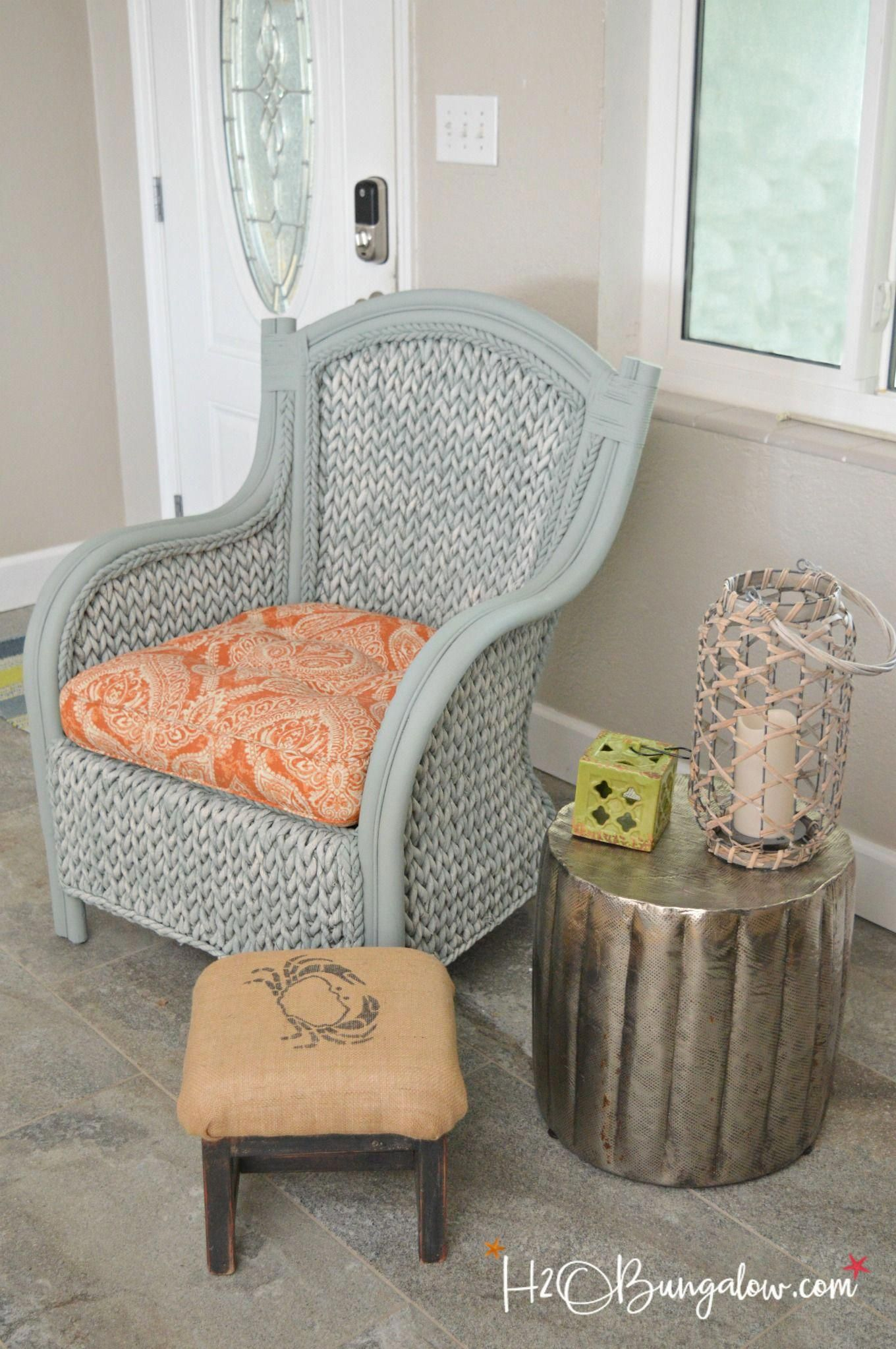 Tutorial and video shows how to paint  wicker chair with what paints use on for best results bestfurniture also furniture quickly easily decorating rh pinterest