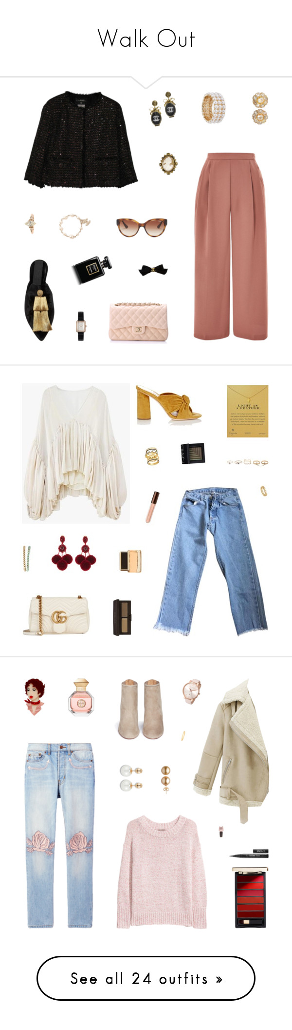 """Walk Out"" by belenloperfido ❤ liked on Polyvore featuring Sanayi 313, Topshop, Chanel, Design Lab, Vogue Eyewear, Brandy Melville, Loeffler Randall, Gucci, Dogeared and Oscar de la Renta"
