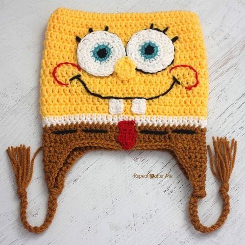 Patrón Gorro Bob Esponja a crochet | Gorros Infantis | Pinterest ...