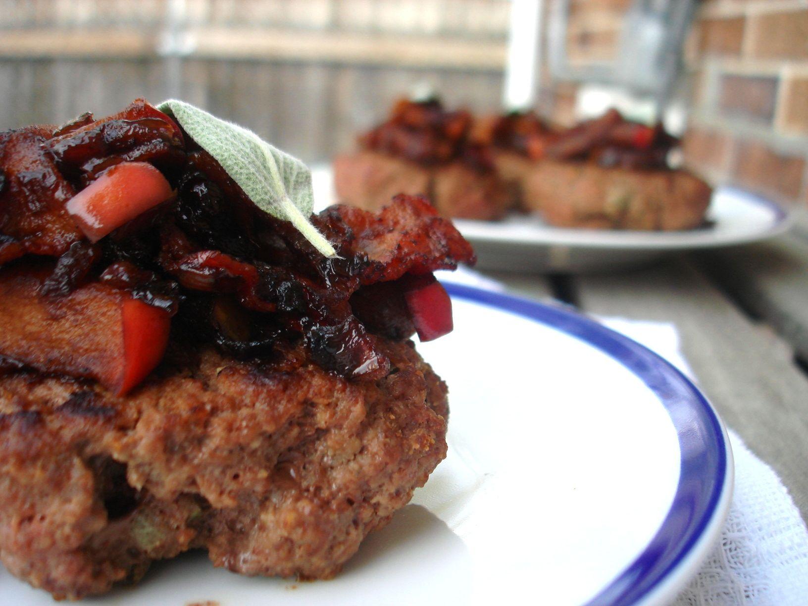 Sage Bison Burgers with Balsamic Bacon Apple Chutney | PaleOMG – Paleo Recipes