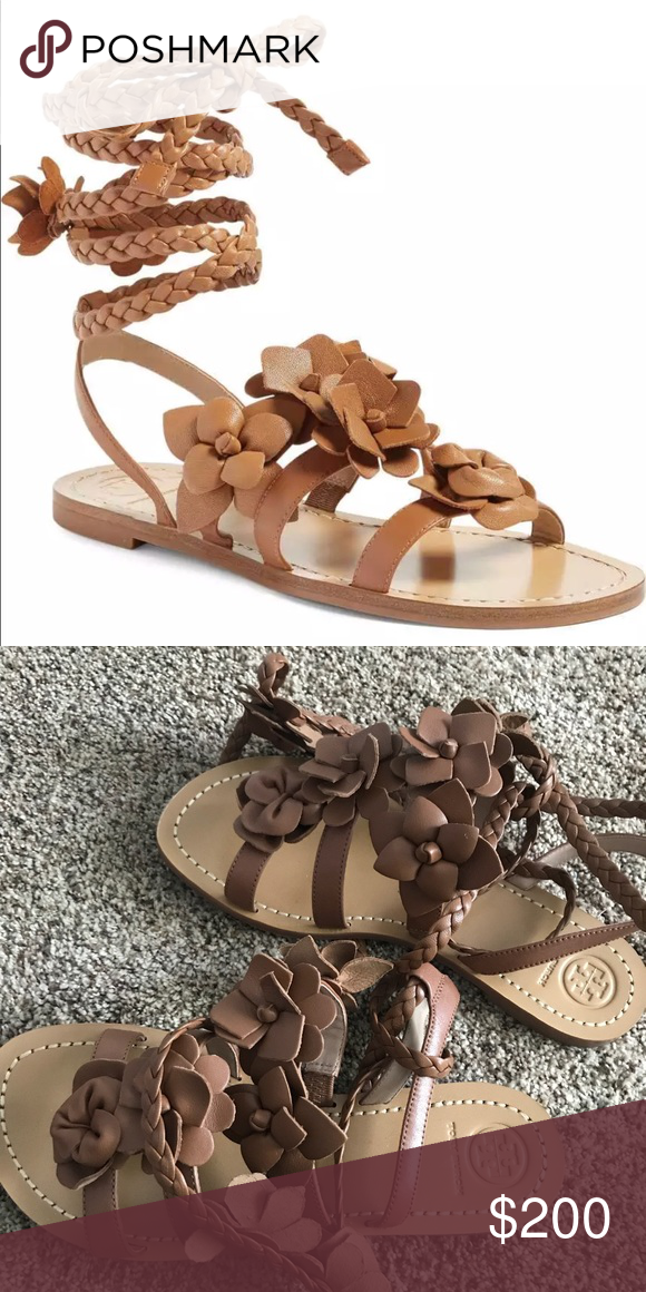 9a564075402 Tory Burch Blossom Gladiator Sandal Royal Tan Cute for everyday or to dress  up. They