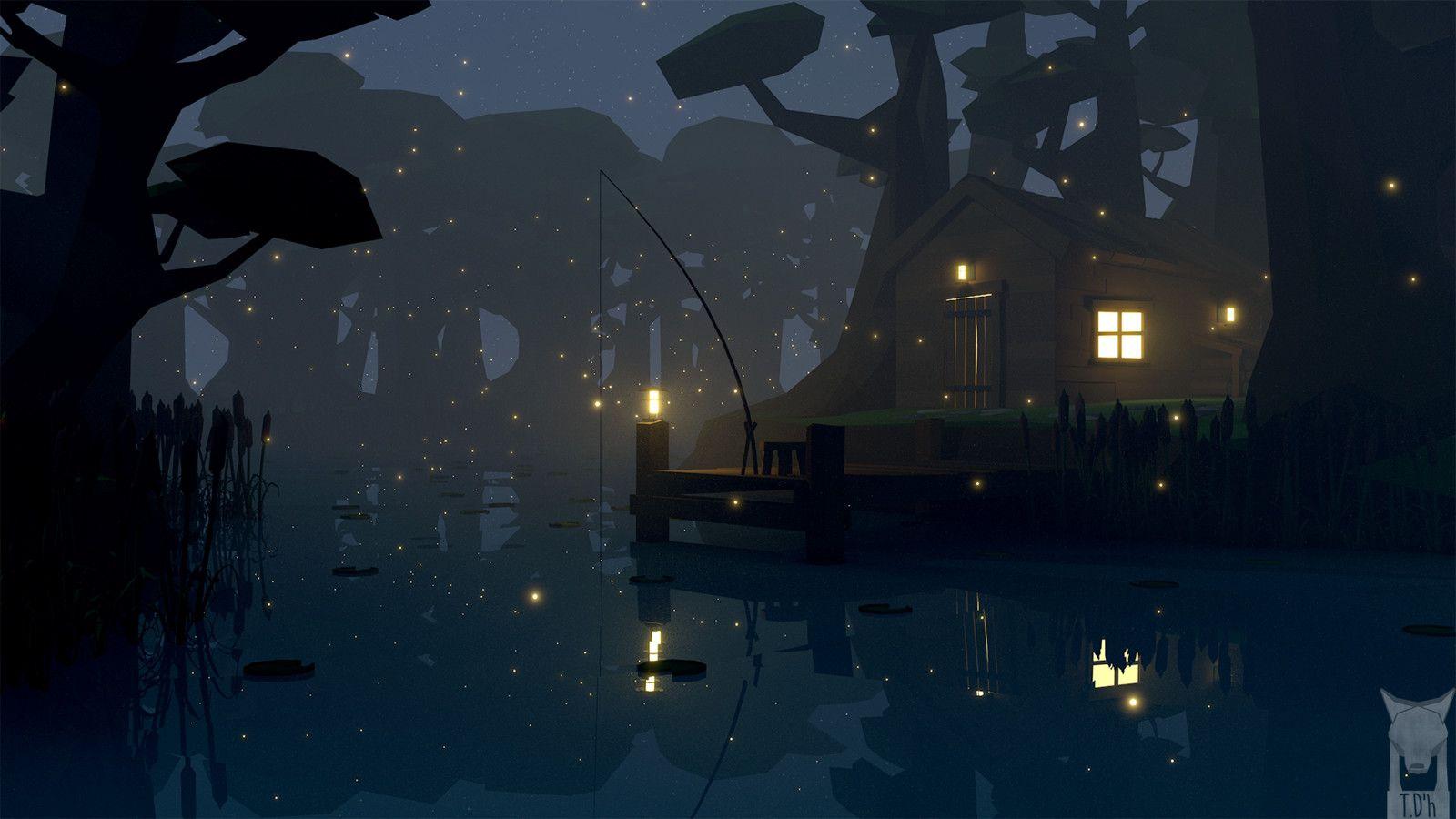 low poly - swamp fishing, Tim D'hoore on ArtStation at https://www.artstation.com/artwork/Z0Wz0
