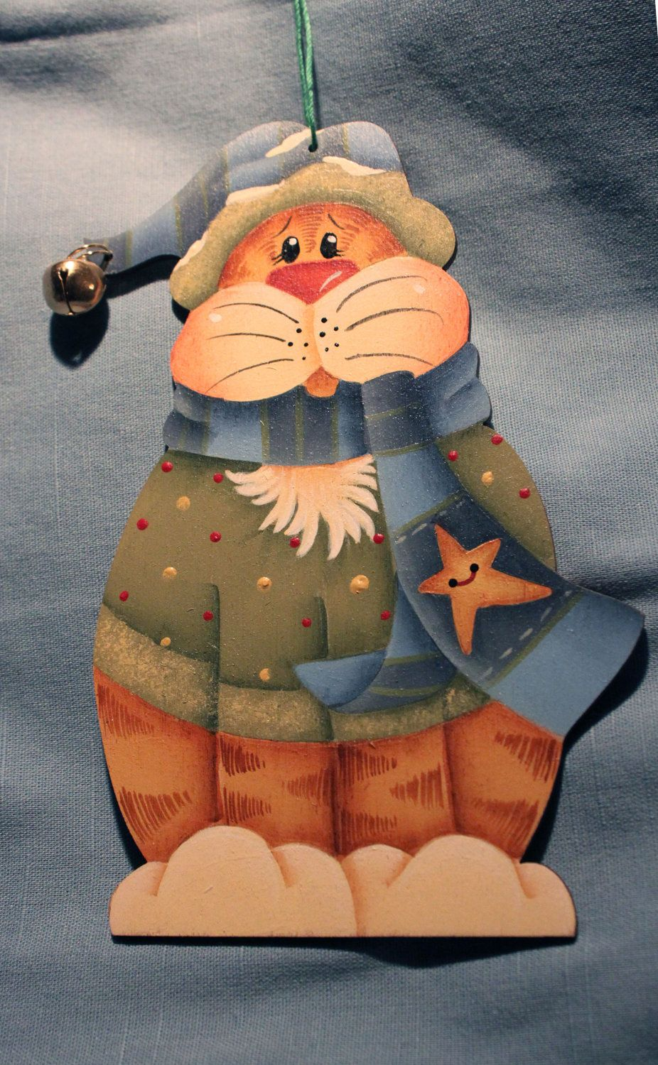Hand Painted Cat Wooden Christmas Ornament. $13.00, via Etsy.