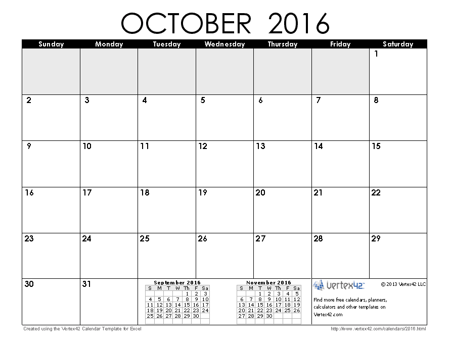 Download A Free October 2016 Calendar From Vertex42 Animals