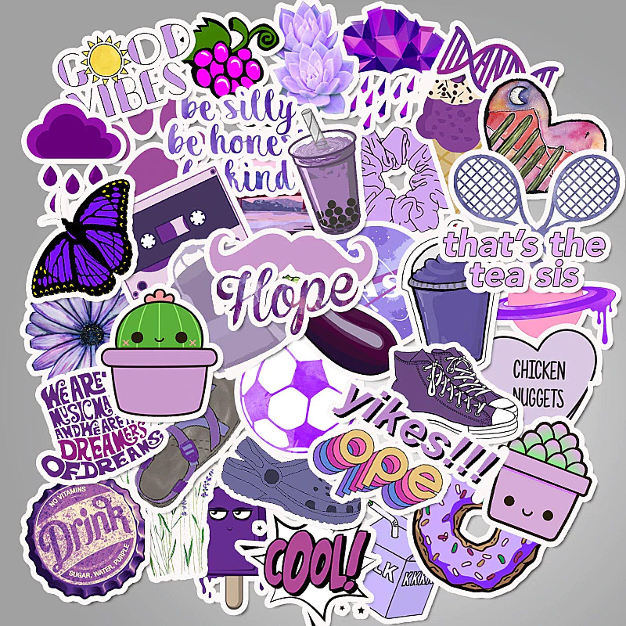 50 Purple VSCO Sticker Bomb Cute Kawaii Laptop Water Bottles Waterproof Decals