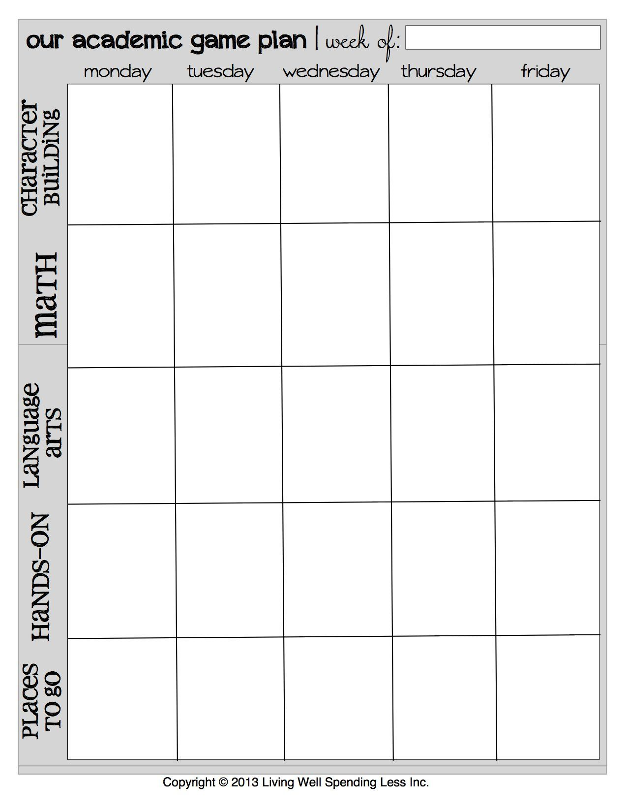 Free Printable Homeschool Weekly Academic Game Plan