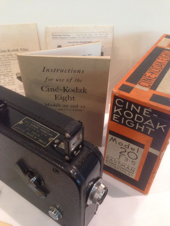 1930's Cine Kodak Eight 20 Camera, 8 MM Film, Vintage, Collector, Original Box, Complete Directions, Model 20, Photographer, Houseware Decor by Sunshineoftreasures on Etsy