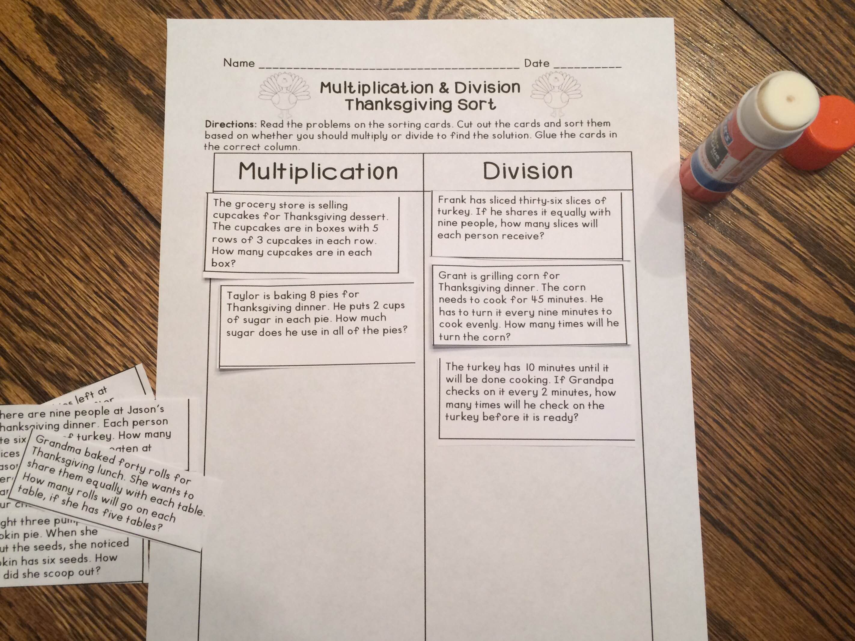 Thanksgiving Multiplication And Division Word Problem Sort