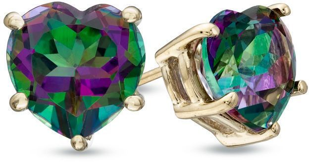 Zales Pear-Shaped Mystic Fire Topaz Solitaire Stud Earrings in 10K Gold OgQv8w0d