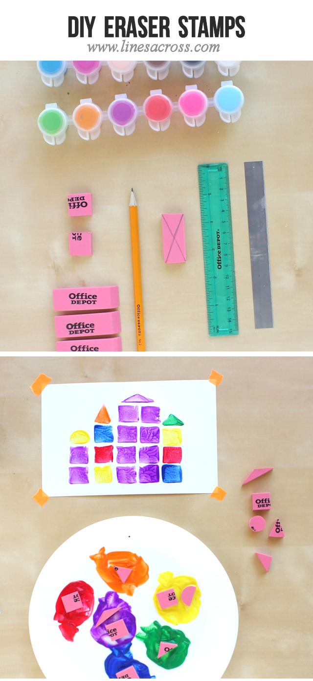 Lines Across: DIY Eraser Stamps   Sellos hechos con borradores