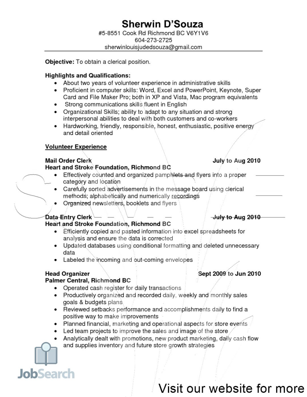 Objective For Resume Clerical Work 2020 Good Objective For