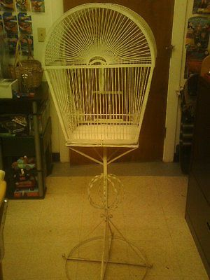 Vintage Antique Beautiful White Bird cage rare excellent condition stand swing $