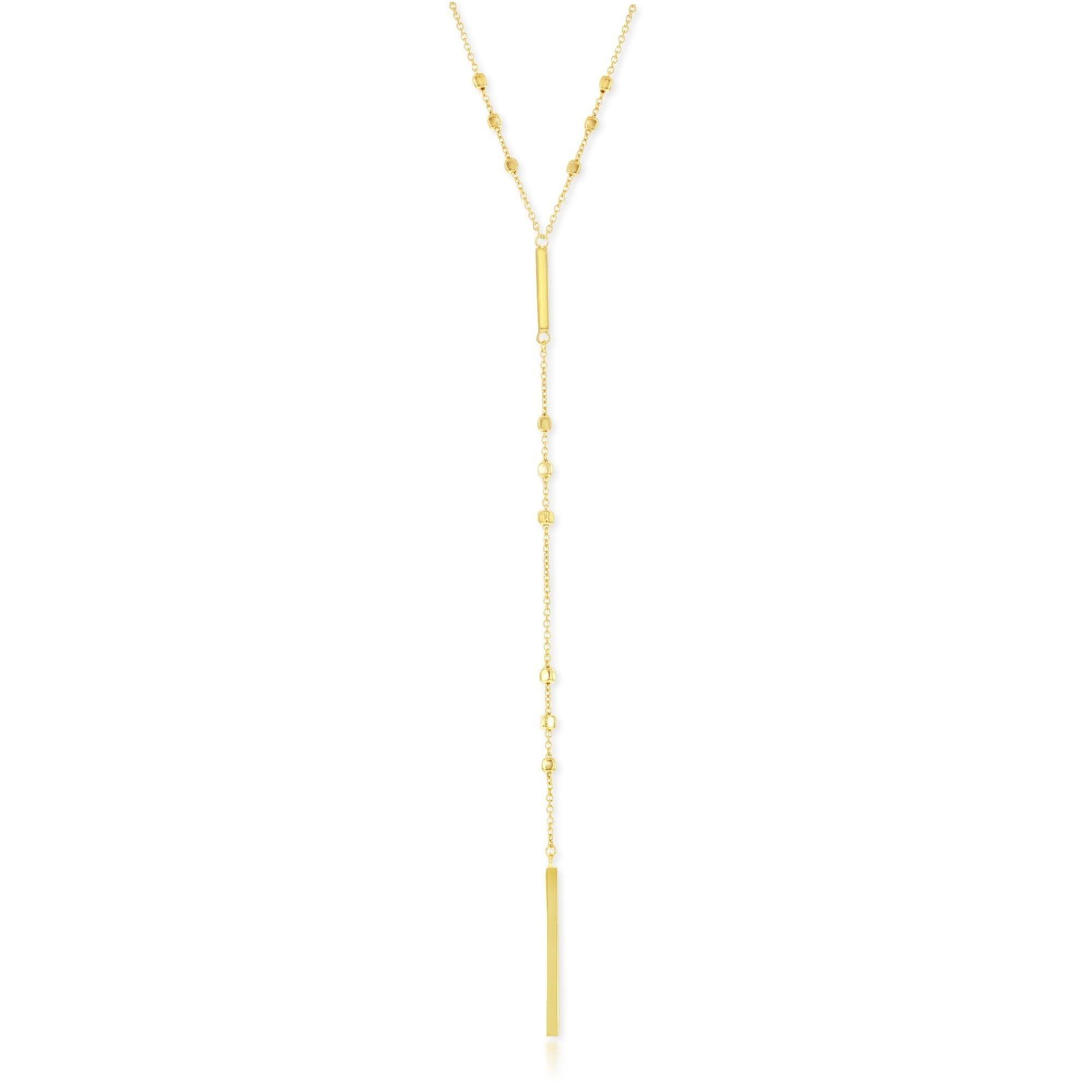 """La Preciosa Italian Sterling Silver 22+1"""" Square Beads with Y Verticle Bars Lariat V Chain Necklace"""