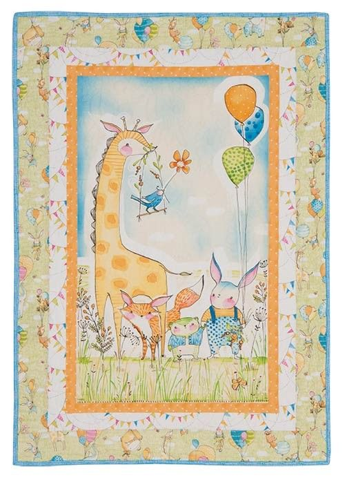 """Wee Pals Quilt Kit Make it cute and make it quick when you just add the green outer border to a printed panel. Kit has piecing directions and fabrics for the top and binding from Cori Dantini's Hello World...Good Day! collection for Blend Fabrics. Throw 29"""" x 42""""."""
