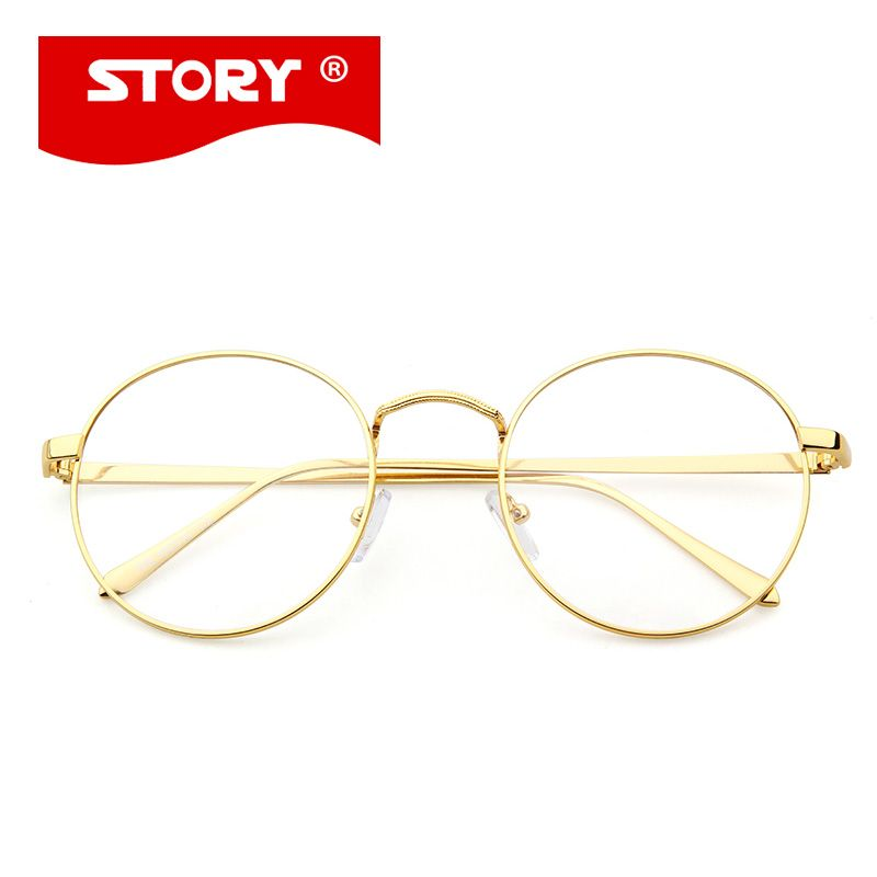 5311709424a23 STORY Korean Glasses Frame Retro Full Rim Gold Eyeglass Frame Vintage  Spectacles Round Computer Glasses Unisex NO Degrees 002(China (Mainland))