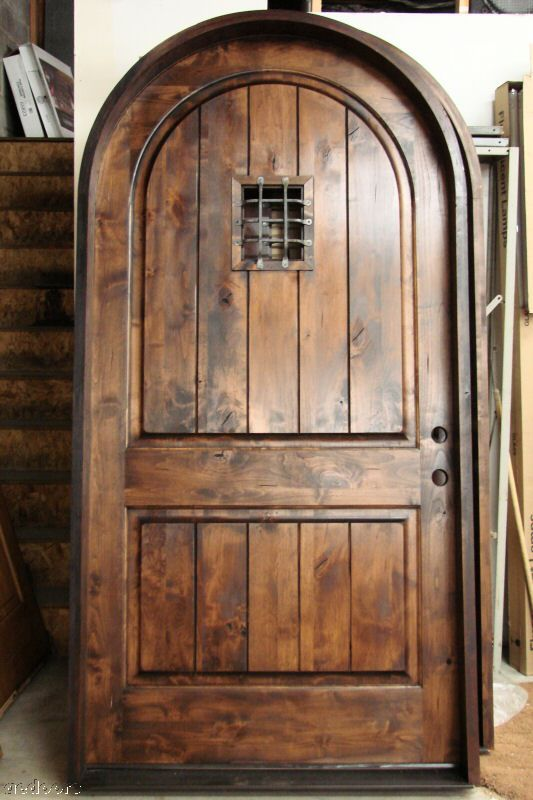 true round top exterior wood entry door rustic doors