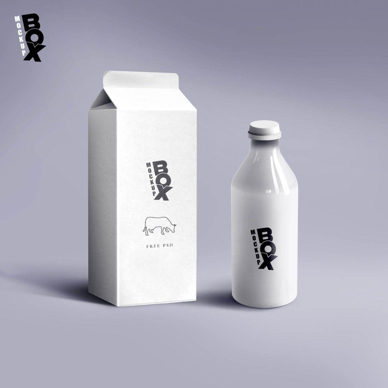 Free Milk Package Mockup Design Download Milk