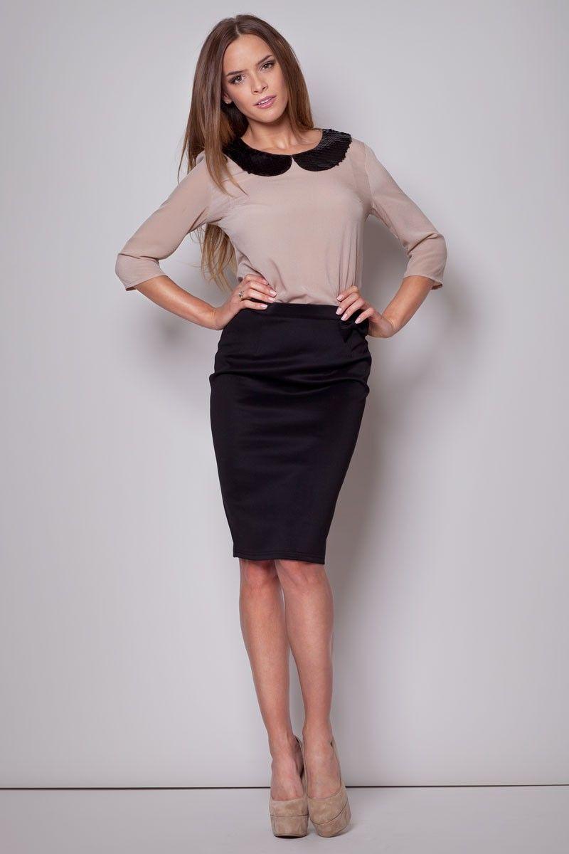 jupe taille haute noire avec noeud fantaisie sur la. Black Bedroom Furniture Sets. Home Design Ideas