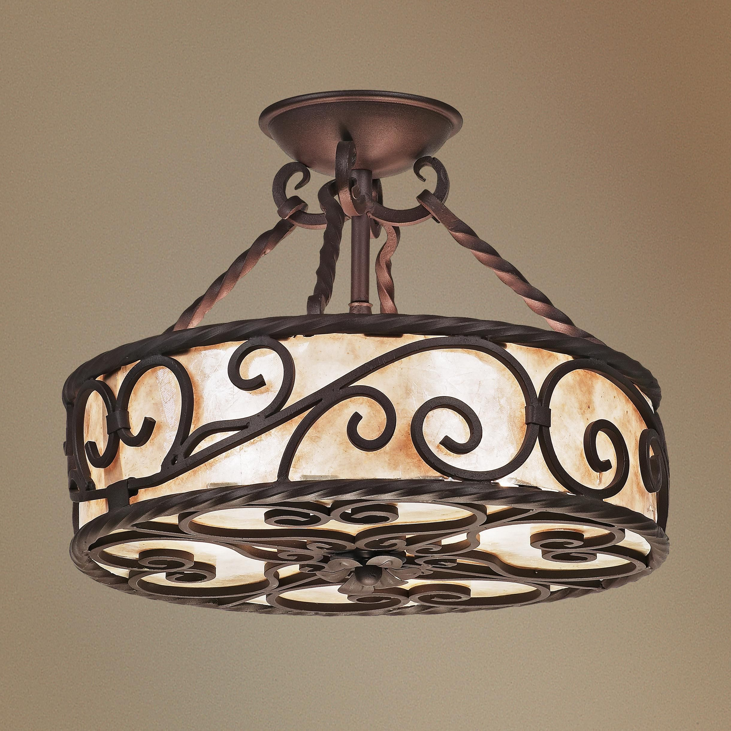 """Love The Wall Finishes Chandelier And The Overall Tuscan: Natural Mica Collection 15"""" Wide Iron Ceiling Light"""