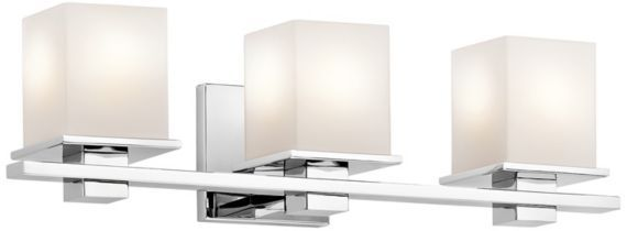 Kichler Tully 3-Light Chrome Opal Glass 24-Inch-W Bath Light