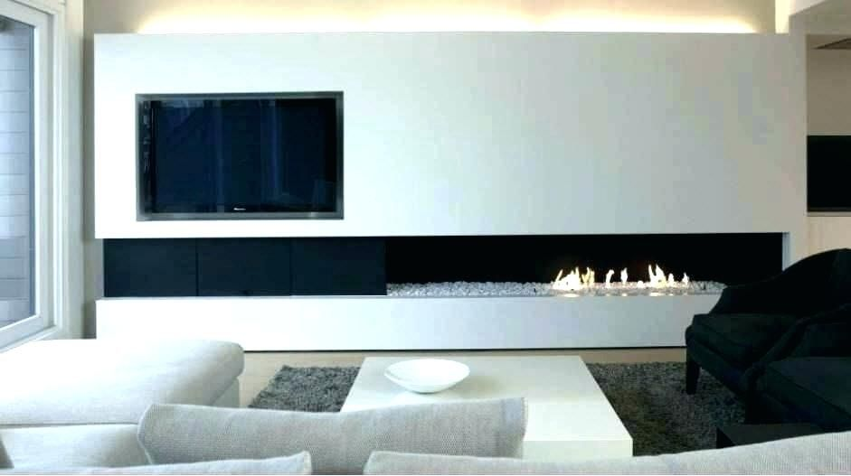 Low Profile Fireplace With Tv Above Gas Modern Linear