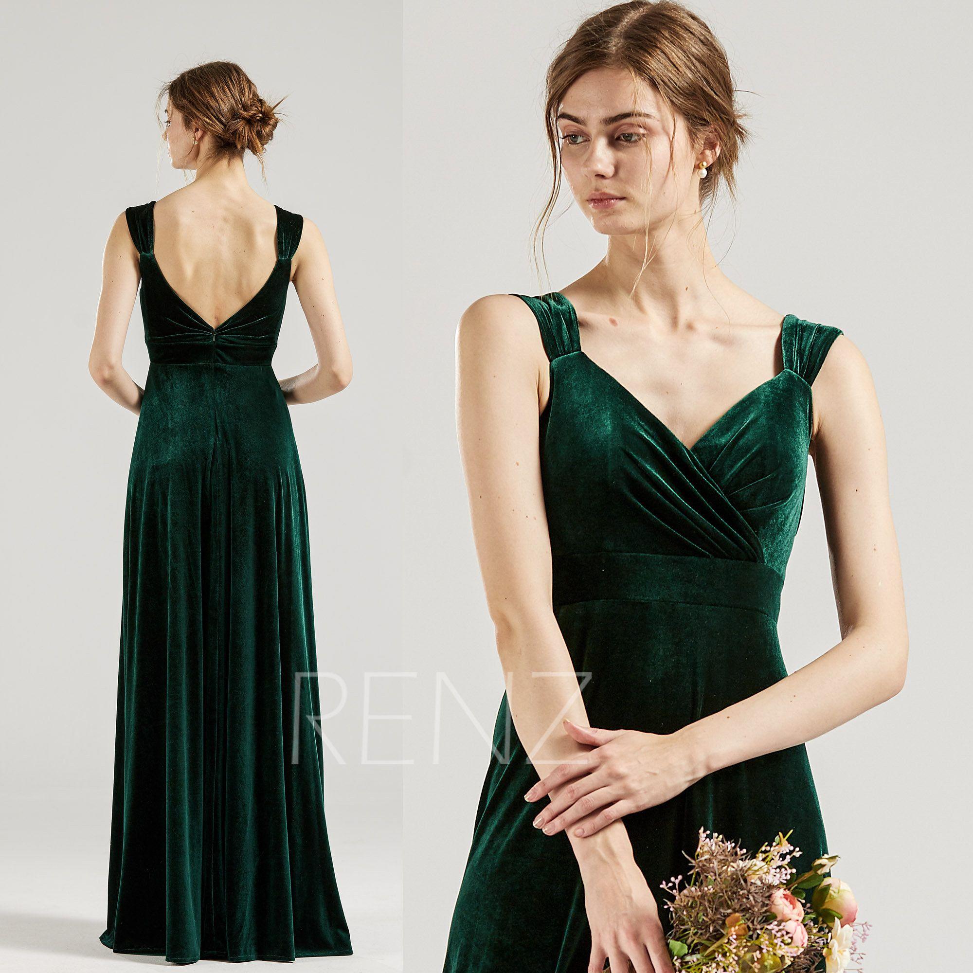 Bridesmaid dress dark green velvet formal dress vneck