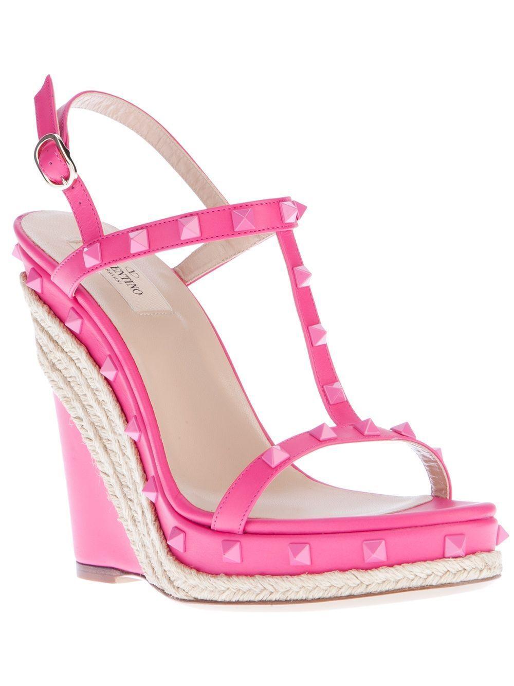 3aebe6f9ac42 Valentino Rockstud Wedge Sandal in Pink (pink   purple)