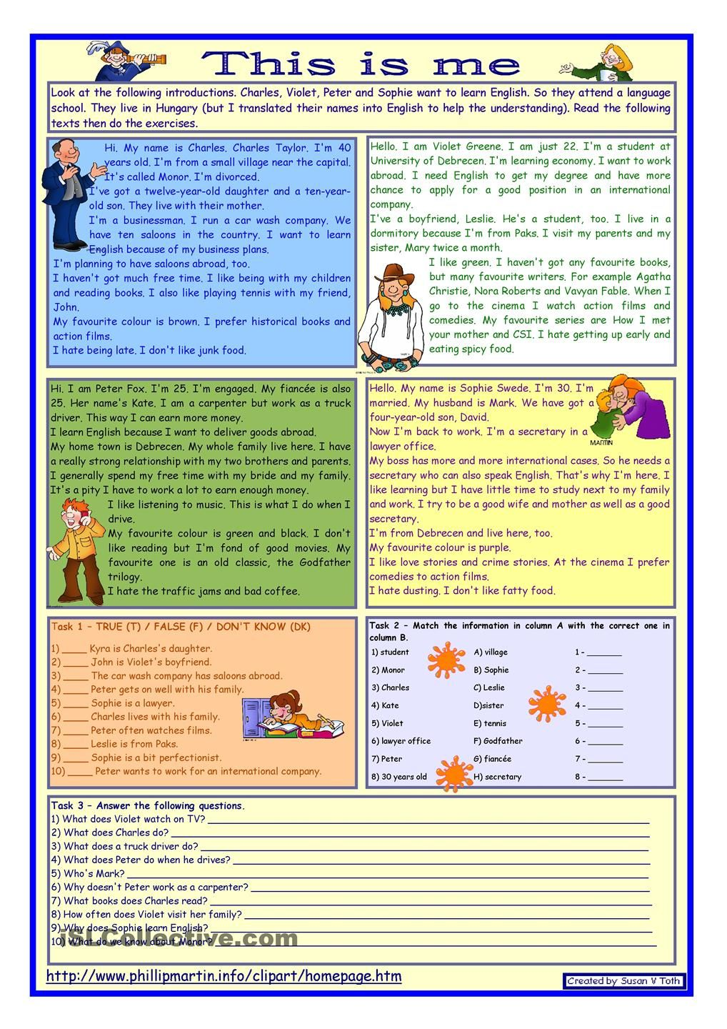 Workbooks year 8 english worksheets comprehension : This is me Part 1 *** Reading comprehension for adults ...