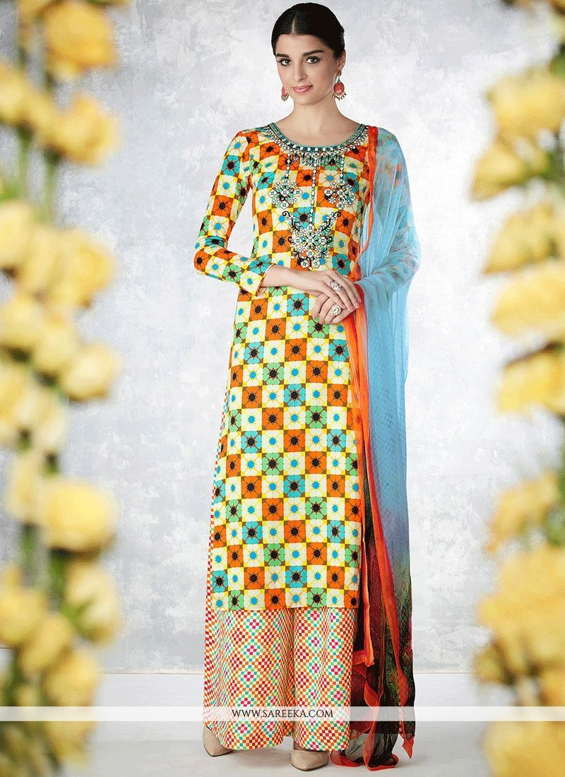 e90359cf55b ... design with this multi colour cotton designer palazzo suit. The  wonderful attire creates a dramatic canvas with remarkable embroidered and print  work.