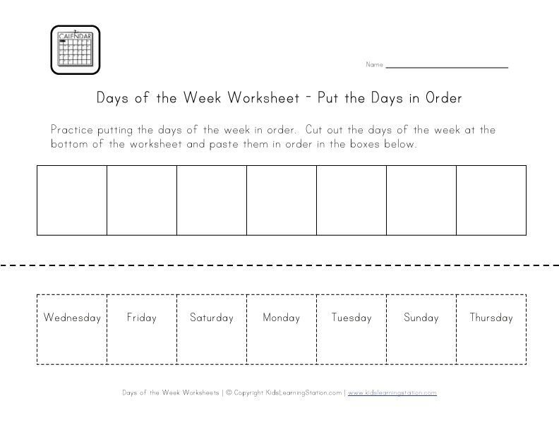 Days Of The Week Worksheet Cut And Paste The Days In Order