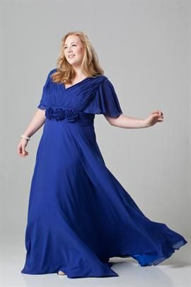 Chiffon gown with delicate rosette accents at waist | Plus Size Dresses | OneStopPlus