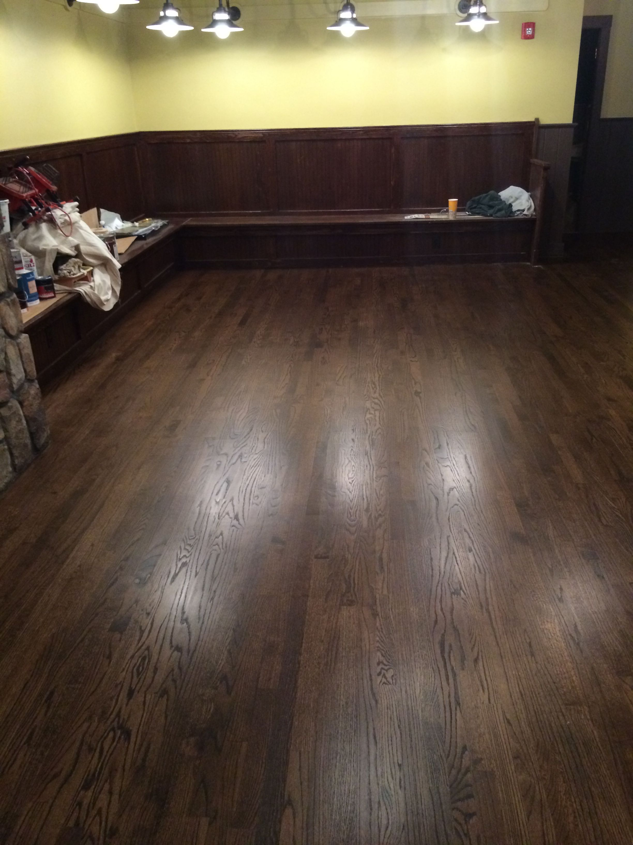 2 1 4 Red Oak Hardwood Flooring Stained With Minwax Dark Walnut Finished With 1 Coat Of Bon Refinishing Hardwood Floors Hardwood Floor Colors Red Oak Floors