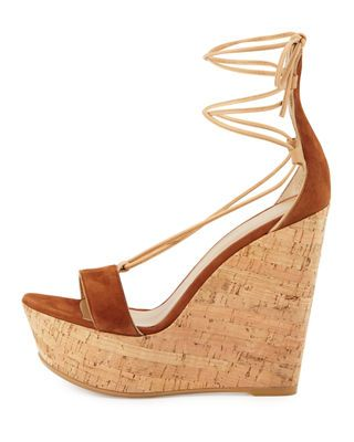 a1f4e7817007 Stuart Weitzman Wrap It Suede Lace-Up Wedge Sandal