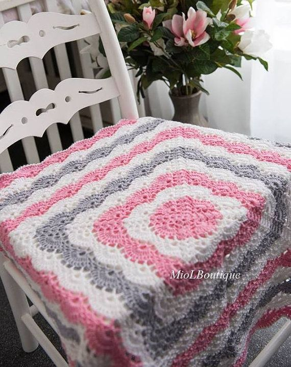 Crochet bebé manta afgana BAUTIZO Bautismo Crochet manta | crochet ...