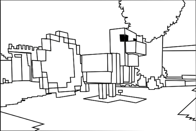 Chicken minecraft coloring pages for kids boys and girls for Minecraft chicken coloring pages