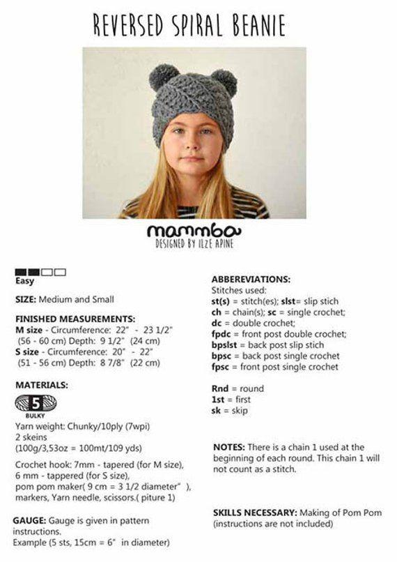 Crochet mouse hat pattern REVERSED spiral beanie pattern