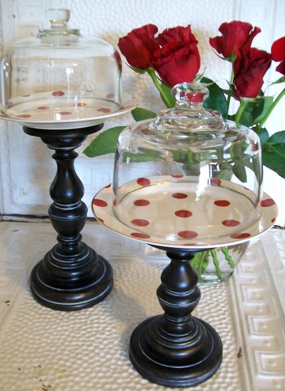 red polka dots red and white farmhouse chic vintage pedestal dessert stand cake stand serving. Black Bedroom Furniture Sets. Home Design Ideas