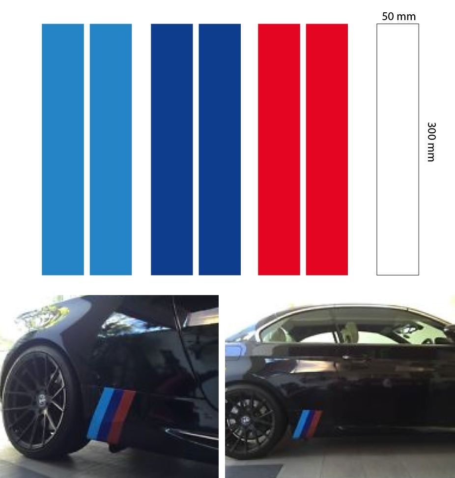 2set m grill skirt stripe bmw motorsport decal sticker vinyl 3 color 300x50 mm