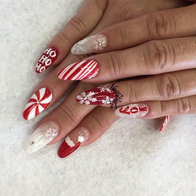 Christmas-themed stiletto nail art design, acrylic nails ...