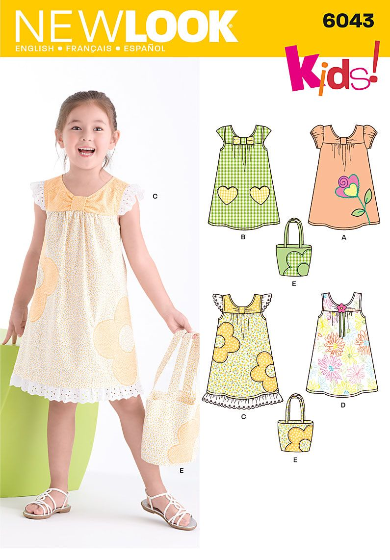 New Look pattern 6043: Child's Dress & Bag | Vintage Patterns and ...